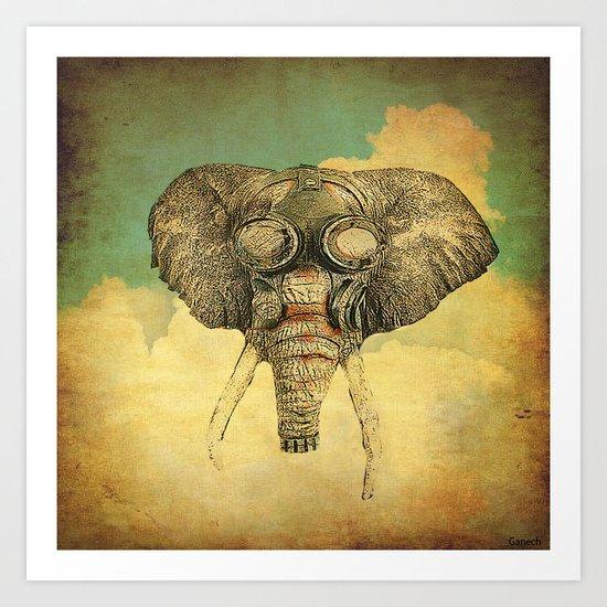 Gas mask for elephant Art Print