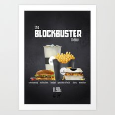 Blockbuster menu Art Print
