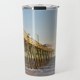 Outer Banks Fishing Pier and Ocean Seascape Travel Mug
