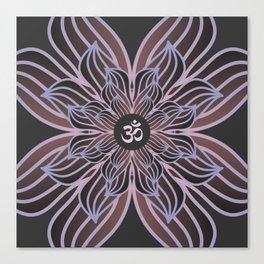 Spiritual Art, Om Symbol, Pink and Purple Mandala, Yoga Gift Canvas Print