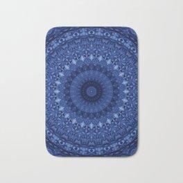 Mandala in deep blue tones Bath Mat