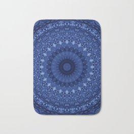 Mandala in deep blue tones Bath Mat