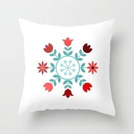 Scandinavian Style Flowers Teals & Reds Wheel Throw Pillow