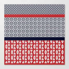 Japanese Style Ethnic Quilt Blue and Red Canvas Print