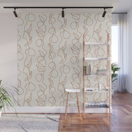 aria flowing faces - gold on cream Wall Mural