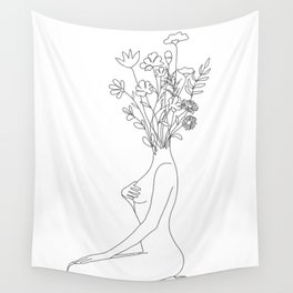 Minimal Line Bloom Wall Tapestry