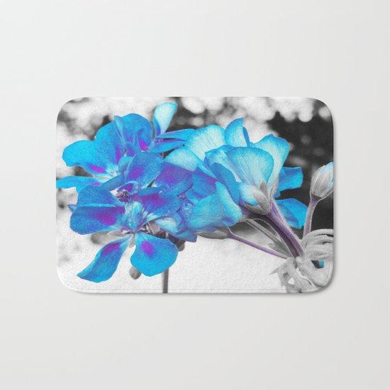 Turquoise Flowers Bath Mat