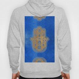 Elegance Hamsa Hand Metallic Gold Royal Blue Hoody