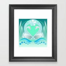 Two swans in Love Framed Art Print