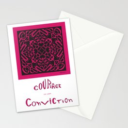 Courage of her Conviction - Fuchsia Black Stationery Cards