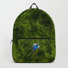 vertical drone shot of pilot in green grass Backpack