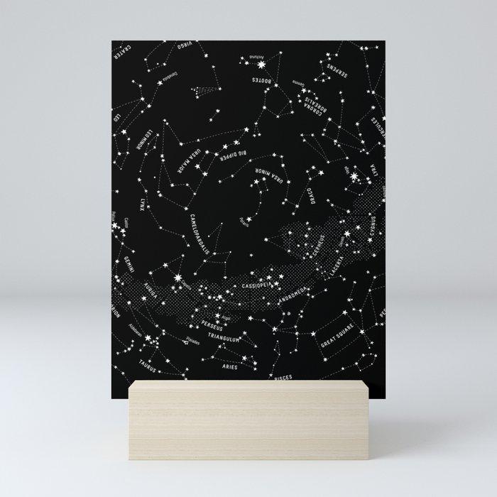 Constellation Map - Black Mini Art Print