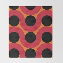 Black Balls on red Elastic Worms in an Orange Background Throw Blanket