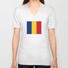 flag of romania Unisex V-Neck