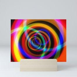 Rotating rainbow swirl. Mini Art Print