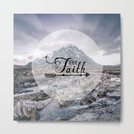 Have Faith Inspirational Typography Over Mountain Metal Print