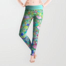 Art Deco Watercolor Patchwork Pattern 1 Leggings