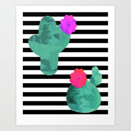 Cactus Stripes White Background Art Print