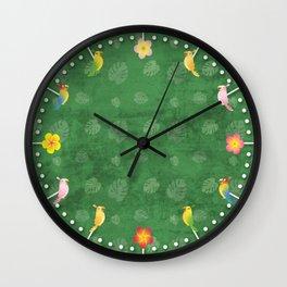 Tiki Birds - Green Pattern Wall Clock