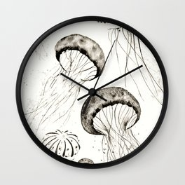 jelly fishes black and white Wall Clock
