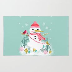Holiday Snowman by Andrea Lauren  Rug
