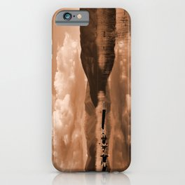 Monochrome Cloudy Lakescape  iPhone Case