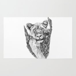 Lioness Hanging On a Tree Rug