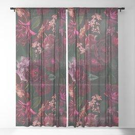 Vintage & Shabby Chic - Night Botanical Flower Roses Garden Sheer Curtain