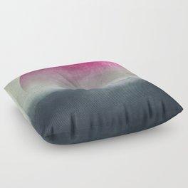 Pink Moon over Misty Woodlands Floor Pillow