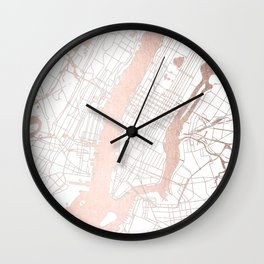 New York City White on Rosegold Street Map Wall Clock