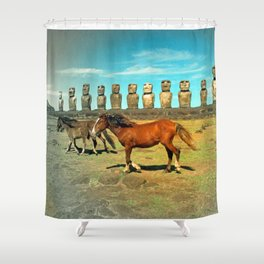 EASTER ISLAND SCENE Shower Curtain