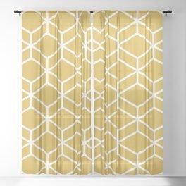 Geometric Honeycomb Lattice in White and Mustard Yellow. Modern. Clean. Minimalist Sheer Curtain