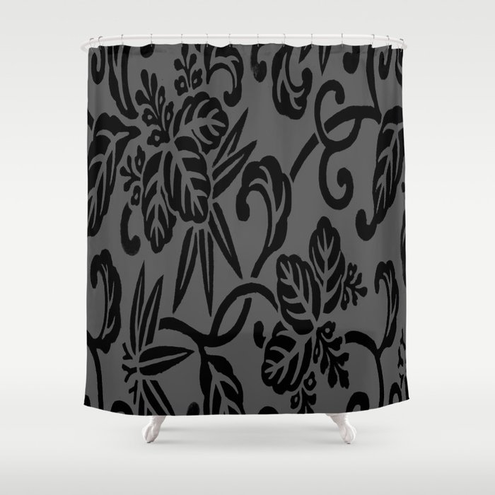 Slate Gray Black Japanese Leaf Pattern Shower Curtain