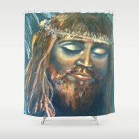 christ Shower Curtains featuring Christ by osile ignacio