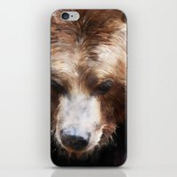 bear iPhone & iPod Skins featuring Bear // Gold by Amy Hamilton