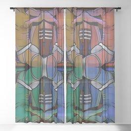 Pop Your Jock Art Sheer Curtain