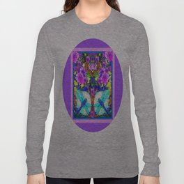 Blue Zinger Dragonflies Violets Abstract Long Sleeve T-shirt