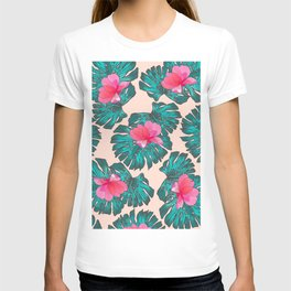 Artsy Tropical Green Teal Monster Leaves Pink Floral T-shirt