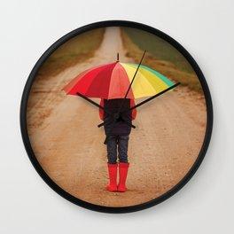 Rainbow Rainy Day Wall Clock