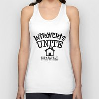 psychology Tank Tops featuring Introverts Unite! by Rendra Sy
