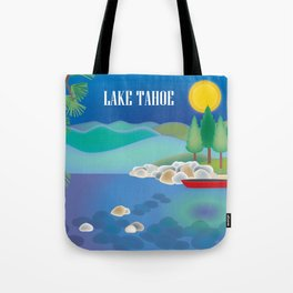 Lake Tahoe - Skyline Illustration by Loose Petals Tote Bag