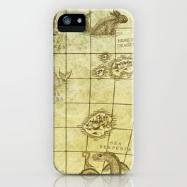 Here Be Monsters Map iPhone Case
