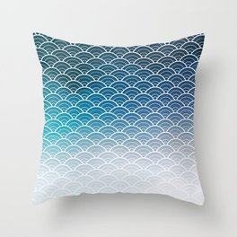 Navy Blue Ombre Japanese Waves Pattern Throw Pillow