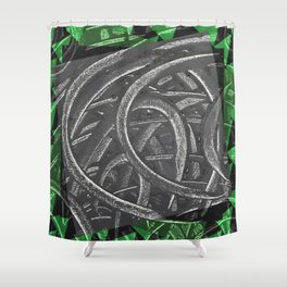 Junction - green/black graphic Shower Curtain