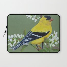 Gold Finch Bird on Pussywillow Laptop Sleeve