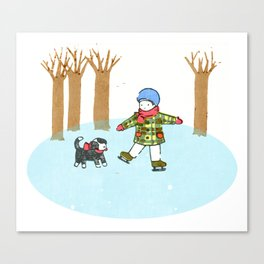 Fun Time in Winter: Skating Boy with a Puppy in Japanese Woodcut Canvas Print