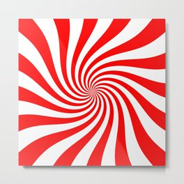 Swirl (Red/White) Metal Print