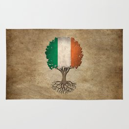 Vintage Tree of Life with Flag of Ireland Rug