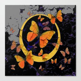 """SHABBY CHIC """"OFF THE WALL"""" BUTTERFLIES &  BLACK  ART Canvas Print"""
