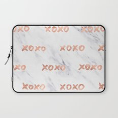 Valentines Day Rose Gold Marble Words - XOXO Typography Laptop Sleeve
